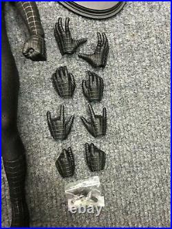 1/6 Hot Toys MMS165 Black Spider-Man Action Figure Stand Hands set & Web