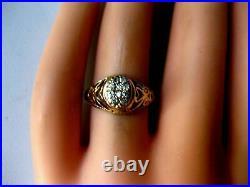 1.8 Ct Diamond Spiderweb Filigree Vintage Retro Estate Ring 14K Yellow Gold Over