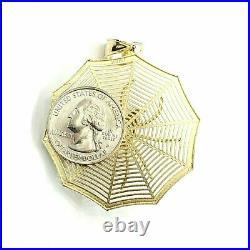 10k yellow Gold spider spiderweb Pendant charm spooky gift fine jewelry 12.3g