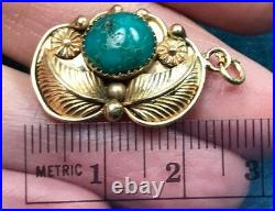 14K Yellow Gold Pendant w Spiderweb Turquoise. Carved Leaves. 1 & 3g-K7L0