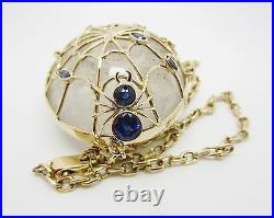 14k Yellow Gold Vintage One Of A Kind Spiderweb Sapphire Quartz Crystal Necklace