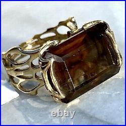18K Yellow Gold Spider Web Smokey Topaz Quartz Vintage Cocktail Ring Size 5.75