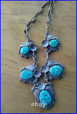 1960s Old Spiderweb turquoise Squash blossom necklace 20 65g Robert Becenti RIP
