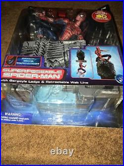 2001 Marvel Super Poseable Spider-man W / Gargoyle Figure Toy Biz Unopened
