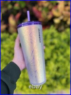 2021 Starbucks Halloween Purple White Frosted Spiderweb Spider Web 24 Oz Tumbler