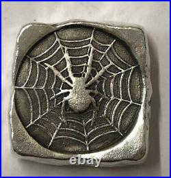 3 Troy Oz MK BarZ Spider Web Chunk Stamped Square