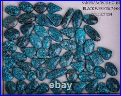 A+ BLACK WEB KINGMAN Natural Spiderweb Turquoise Cabochon Cab Nt Lander Blue 11