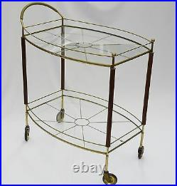 ANTIQUE 40s FRENCH HOLLYWOOD REGENCY GILDED IRON SPIDER WEB PATTERN TEA BAR CART