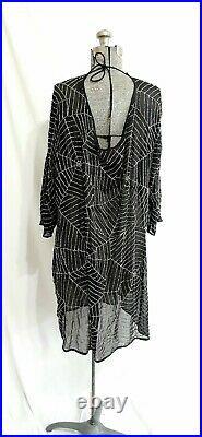 Adrienne Landau Sheer Beaded Spiderweb Dress 2XL A by Adrienne Landau