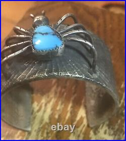 Amazing Vintage Tufa Cast Spider Web Bracelet Marked Coin Silver Free Shipping