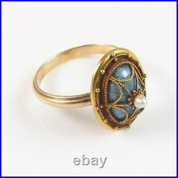 Antique 14k Gold Victorian Guilloche Enamel & Pearl Spider Web Ring Size 5.25