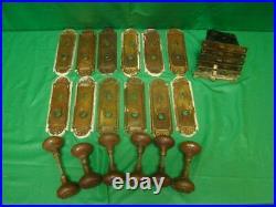 Antique 6 Sets Iron Gothic Spider Web Door Knobs Sets Brass Plates Locks