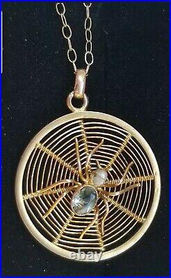 Antique 9k Gold Spider Spider Web Pearl Topaz Pendant Necklace-Estate Jewelry