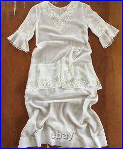 Antique Edwardian 1920s sheer white cotton & spider web lace tea dress xs/s