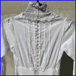 Antique Edwardian White Cotton Tea Dress Maxi Lace Spider Web Buttons Vintage