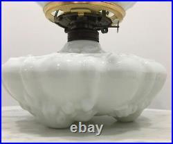 Antique Milk Glass Victorian Spider Web Oil Lamp GWTWithBanquet #2