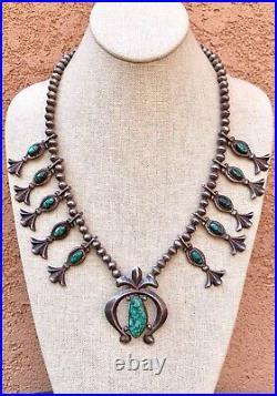 Antique Navajo Sterling Silver Green Spiderweb Turquoise Squash Blossom Necklace
