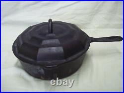 Antique Nuydea Uk Made 1800's Cast Iron Chicken Fryer With Spider Web LID