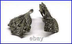 Antique Signed Holfast Pat App For French Pave Crown Spiderweb Shoe Clip Buckles
