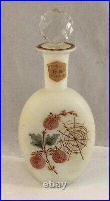 Antique Victorian Fireglow Art Glass Opaque Perfume Bottle Berries & Spider Web