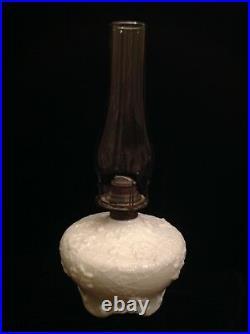 Antique Victorian Milk Glass Spider Web Flower Oil Lamp 19th Century