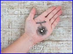 Antique Vintage Nouveau Sterling Silver Filigree Figural Spider Web Pin Brooch