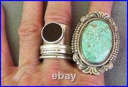 Big Signed Navajo Sterling Silver Spiderweb Turquoise Ring Bennie Ration Size 9