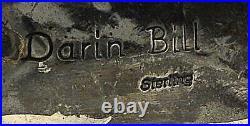 DARIN BILL Navajo CONCHO BELT BUCKLE Spiderweb Gem TURQUOISE Sterling Silver