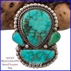 DELLA CASA APPA Ring Turquoise Spiderweb 1930's Sterling Silver KACHINA HEAD