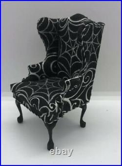 Dollhouse Miniatures Artisan OOAK Halloween Spiderweb Wing Chair