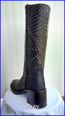 Earl Jeans Spider Web biker motorcycle retro distressed leather boots 8