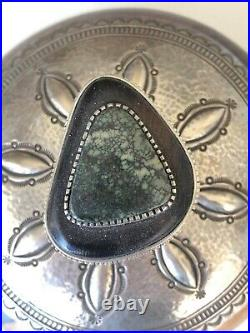 Edison Cummings ironwood, silver and Carico Lake spiderweb turquoise jewelry box