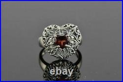 Engagement Spiderweb Filigree Ring Foe Valentine Gift 2 Ct Garnet 14K White Gold