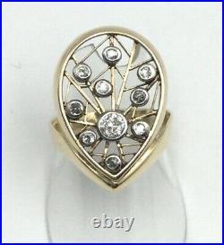 Estate Vintage Diamond 14k Yellow Gold Ring Very Unique size 8.75