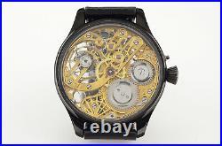 Excellent Men's Wrist Watch Skeleton Spiderweb Engraved 16 Size Swiss Movement