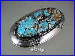 FINEST Frank Patania STERLING SILVER & #8 SPIDERWEB TURQUOISE PIN BROOCH