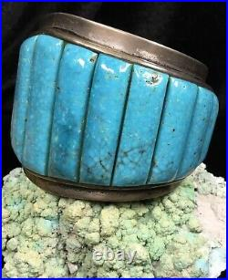 FINEST! Old Pawn Native American Sterling Silver & Spiderweb Turquoise Bracelet