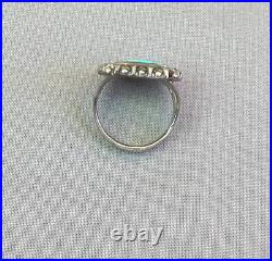 Fine Old Vintage Native American Silver Squared Spiderweb Turquoise Ring