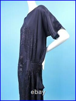Flapper 1920s Navy Blue Silk Dress W Radiating Spiderweb Beading