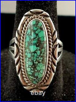 Gorgeous Navajo W. Denetdale Sterling Silver Spiderweb Turquoise Ring 6.5