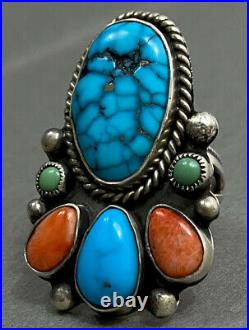 HUGE Navajo David Lister Sterling Silver Spiderweb Turquoise Multi Stone Ring