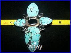 HUGE Sterling Southwestern Spiderweb Turquoise Onyx Artisan Cross Pendant Pin