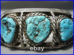 Hand Tooled Vintage Navajo Spiderweb Turquoise Sterling Silver Bracelet Old