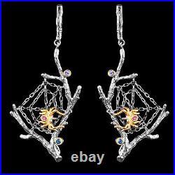 Handmade London Blue Topaz Rhodolite Garnet Spider Web 2-tone Silver 925 Earring