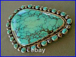 Huge Native American Spiderweb Turquoise Stones Sterling Silver Belt Buckle 5x3