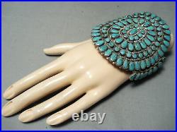 Huge Vintage Navajo Spiderweb Turquoise Sterling Silver Bracelet