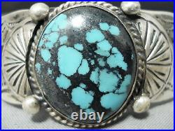 Intense Spiderweb Turquoise Vintage Navajo Sterling Silver Bracelet