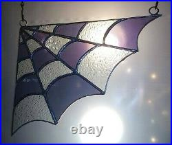 Iridescent Purple & Clear Stained Glass Corner Spiderweb