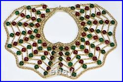 Kenneth Jay Lane KJL 1960s Spider Web Green Red Cabochon Glass Collar Necklace
