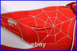 Late 1960s Early 1970s Novelty Halloween Red Silver Spider Web Jumpsuit